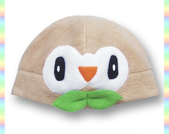Rowlet Hat - Fleece Pokemon Beanie Cute Kawaii Owl Tan Brown (Adult, Teen, & Child Sizes)