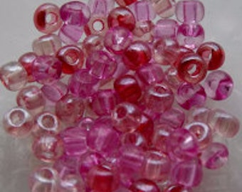 6/0 Translucent Pink Mix Seed Beads, 4mm, Czech, Preciosa, 20 grams (270 - 300 Beads) CLEARANCE SALE!!