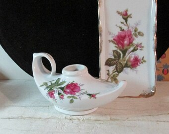 Mid Century Trinket tray & Aladdin's Lamp, Made in Japan, Moss Rose Pattern, Royal Sealy Collectible