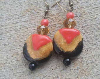 Coral/tan/black Kazuri beaded earrings with acrylic accents for Mother's Day/ Graduation/ Birthday gifts