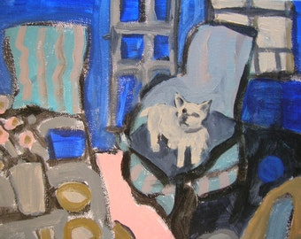 Gaston on the Blue Chair