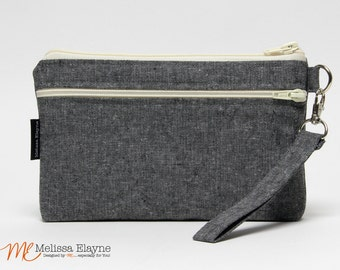 Wristlet Wallet for iPhone 7 Plus with Otterbox, Galaxy Note Wallet, X-Large Wristlet -Charcoal Linen
