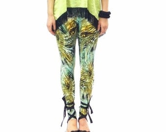 SALE Jungle print leggings in shades of green yellow and brown - made to order in size S M L Xl Xxl