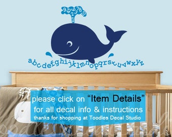 Alphabet Wall Decal Kids Playroom Decal Whale Wall Decal Ocean Beach Art for Kids Room Alphabet Sticker Nursery Wall Art Vinyl Whale Numbers