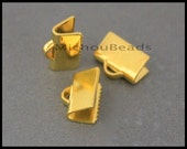100 GOLD 10mm Ribbon CRIMP - Smooth 10x6mm Rectangle Ribbon End Clamp Brass Crimps for Leather n Cord - USA Wholesale Discount Crimps - 5819