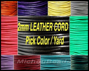2mm Round Indian LEATHER Cord - Lead Free Natural Regular / Distressed Leather by the Yard Wholesale - Pick COLOR / LENGTH - Usa Seller