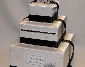 White and Black Winter-Snowflake theme Wedding Card Box-any color can be made