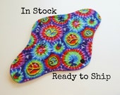 10 inch teen size Retro Rags cloth pad - cloth menstrual pad - petite pad medium flow - peace tie dye flannel top - in stock ready to ship