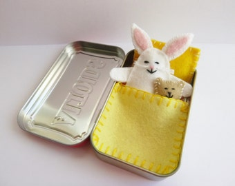 white felt bunny in tin - Wee Bunny in Altoids Tin House w/ yellow bedding - travel toy - pocket toy - purse toy - in stock - Y002