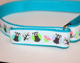 Girls Velcro Belt with D Ring Owls Turquoise Girls Owl Belt Preschool Owl Belt Girls Belt with Owls Turquoise Kids Belt Velcro Kids Belt