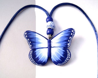 Polymer Clay Blue Butterfly Necklace