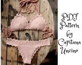 PDF, Crochet PATTERN for Lorelei Crochet Bikini Top and Brazilian Bottom, Cheeky, Sizes XS-L