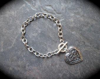 Filigree Heart bracelet with toggle clasp Heart Charm Bracelet Silver Toggle Bracelet Gift for Her Link Bracelet Ten Dollar Gifts!