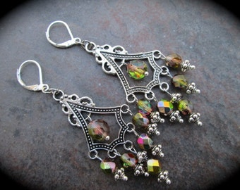 Lime Green and Purple Rainbow Chandelier Earrings with leverback  closures