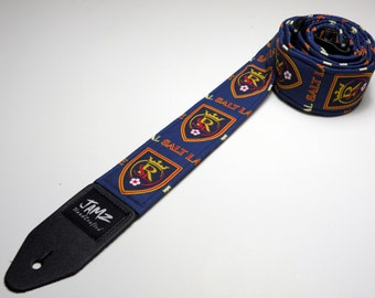 Handmade guitar strap with Real Salt Lake fabric - This is NOT a licensed product