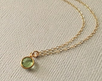 Peridot Necklace in Gold  -Gold Peridot Necklace  -August Birthstone Necklace