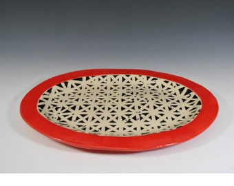 Handmade Ceramic Serving Platter, Oval Serving Dish, Tray