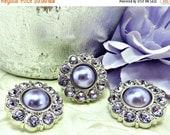 ON SALE 5 Pearl Rhinestone Buttons Plastic Acrylic Purple Faux Pearl Button W/ Purple Surrounding Rhinestone Button Brooch Bouquet 25mm 2997