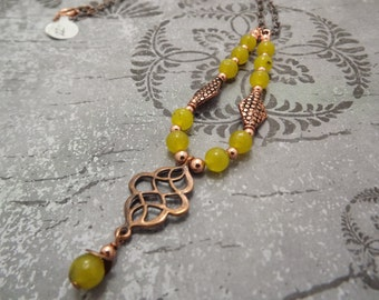Celtic Yellow Green Jade and Copper Necklace