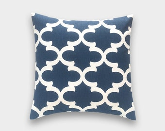 Navy Throw Pillow Cover. Choose from 12 Sizes. Blue Emily Decorative Pillow. Cushion Cover.