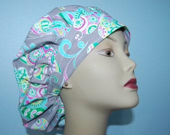 Bouffant Scrub Cap Paisley and Butterfly / Euro / Chemo/ Chef/ Vet/ Alopecia/ Surgical Uniform by Hot Headz