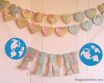 Map Banner, Name Banner, Name with Globes at either end or other shape of your choosing, Map Theme, Travel Theme, Map Nursery