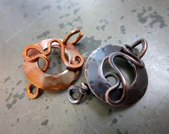 Copper Squiggle Toggle Clasp, Handcrafted Clasp, Flame Patina or Antique Oxidized