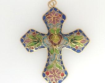 Glass Cloisonne cross pendant: item #  2491