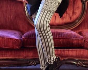 Burlesque Leggings - Womens Legging - GREY - Garter leggings - printed Tights - Suspender tights - LARGE