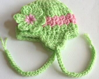 Earflap Hat, Crochet Earflap Hat, Baby Girl Flower Hat, Size 0 / 3 Months