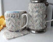 Hand knitted cafetiere cover coffee pot press cosy, mug hug & coaster