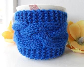 Hand knitted royal blue mug hug or cup cosy cozy warmer
