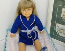 """Blue Bathrobe for 18"""" Doll - Handmade Doll Clothes - Royal Blue Robe Trimmed in White Lace - Doll Robe and Slippers - Doll Bedroom Slippers"""