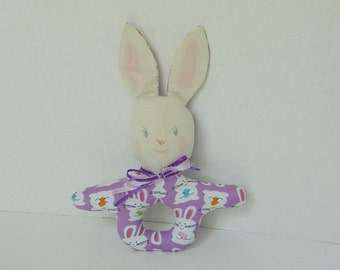 Purple Bunny Rattle - Baby Infant Toy Rattle - Baby Shower Gift - Purple  Bunny - Soft Fabric Baby Toy - Handmade Childs Toy - Easter Basket