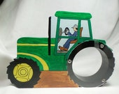Tractor -Yellow and Green Hand painted wooden coin bank-Free Personalization