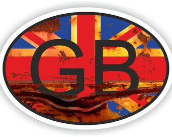 Vintage GB Great Britain Country Code Oval Sticker with Union Jack Flag for Bumper Laptop Book Fridge Helmet ToolBox Door Tool Box Locker PC