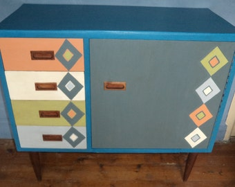 Contemporary oak bespoke cupboard, desk drawers hand painted  created from vintage sewing table.