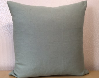 Square peppermint green DUCKEGG or very pale blue green cushion cover in Romo Linara union linen fabric pillow sham -CUSTOM ORDER  sizes.