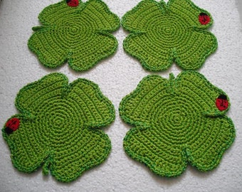 4 coasters shamrock clover leaf with crochet lady bug. Beverage Drink Decor Crochet good luck gift