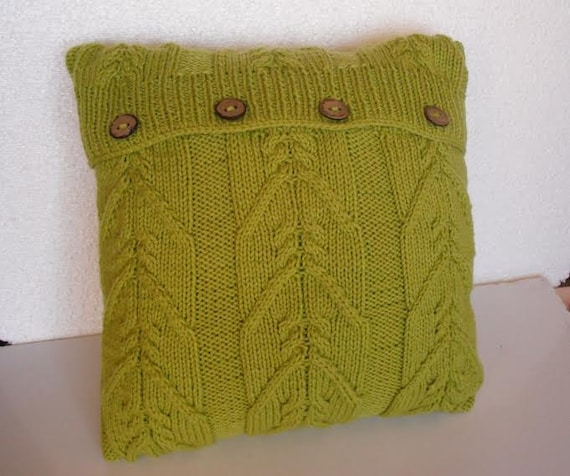 Decorative pillow. cable knitted pillow cover. Throw Pillow Cover, Green Knit Pillow Case, Hand Knit Cushion Cover, Home Decor.