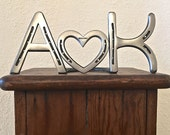Personalized couple wedding gift, Gift for the Couple, letters & heart horseshoe giftware,  engraving available