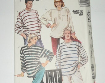 Vintage McCalls Misses, Men's Or Teen Boys Loose Fitting Pullover Tops Stretch Knits Only 1989 Uncut For Size 44-46 (XL) Pattern Number 4550