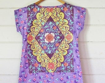 Upcycled Linen Tea Towel Tunic Women Dress Purple Pink Swirly Chocolate Box Retro Mod Mini Australia Floral Small