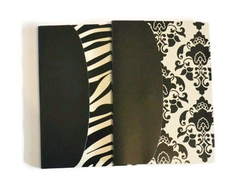 Black and Ivory Blank Journals Set of TWO 6 x8 Tribal Zebra Paris Journals
