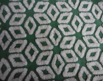 "Rare Hofmann Christmas GREEN with WHITE Diamonds Vintage Chenille Bedspread Fabric - 12"" X 24+"""