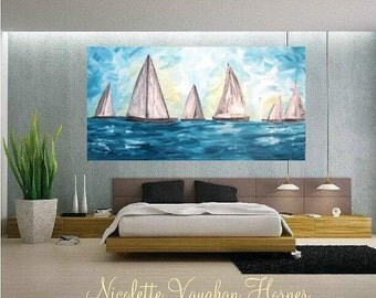 SALE Oil seascape painting Abstract Original Modern Contemporary Yacht painting by Nicolette Vaughan Horner