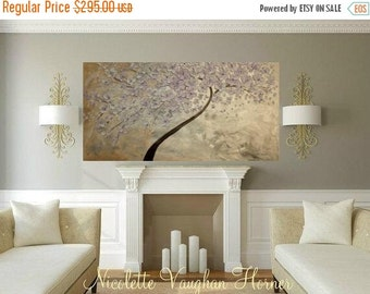 """SALE Mixed Media Oil Landscape gallery canvas Abstract Original 48"""" palette knife Blossom Tree impasto painting by Nicolette Vaughan Horner"""