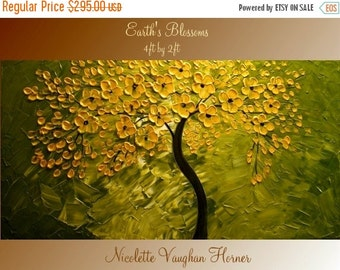 Sale ORIGINAL Large 4ft x 2ft   gallery wrap canvas-Contemporary impasto   abstract  Floral Trees  painting by Nicolette Vaughan Horner