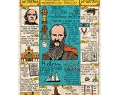 Illustrated A5 notebook - Lord Kelvin timeline design (University of Glasgow)