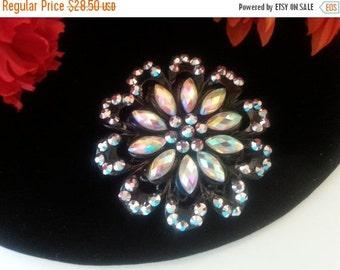 Now On Sale Up-cycled Handmade Huge Black & Rhinestone Flower Brooch